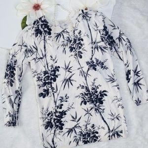 Ann Taylor LOFT Black/White Floral Bamboo Sweater